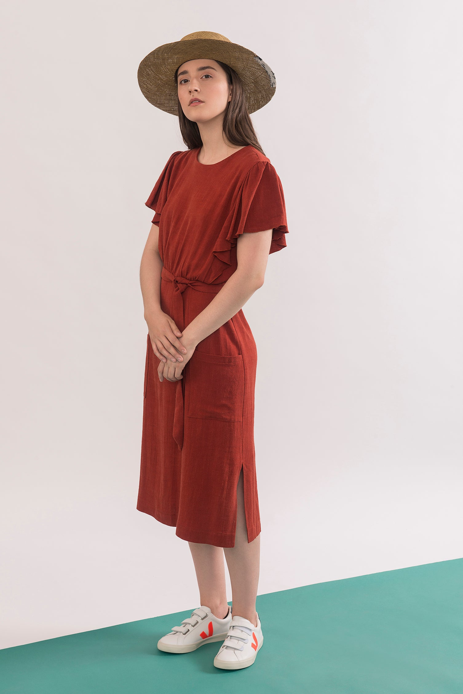 Klee Dress by Jennifer Glasgow, Electric Squash, flowing draped sleeves, mid-length, patch pockets, side vents, belt, rayon and linen, sizes XS to XL, made in Montreal