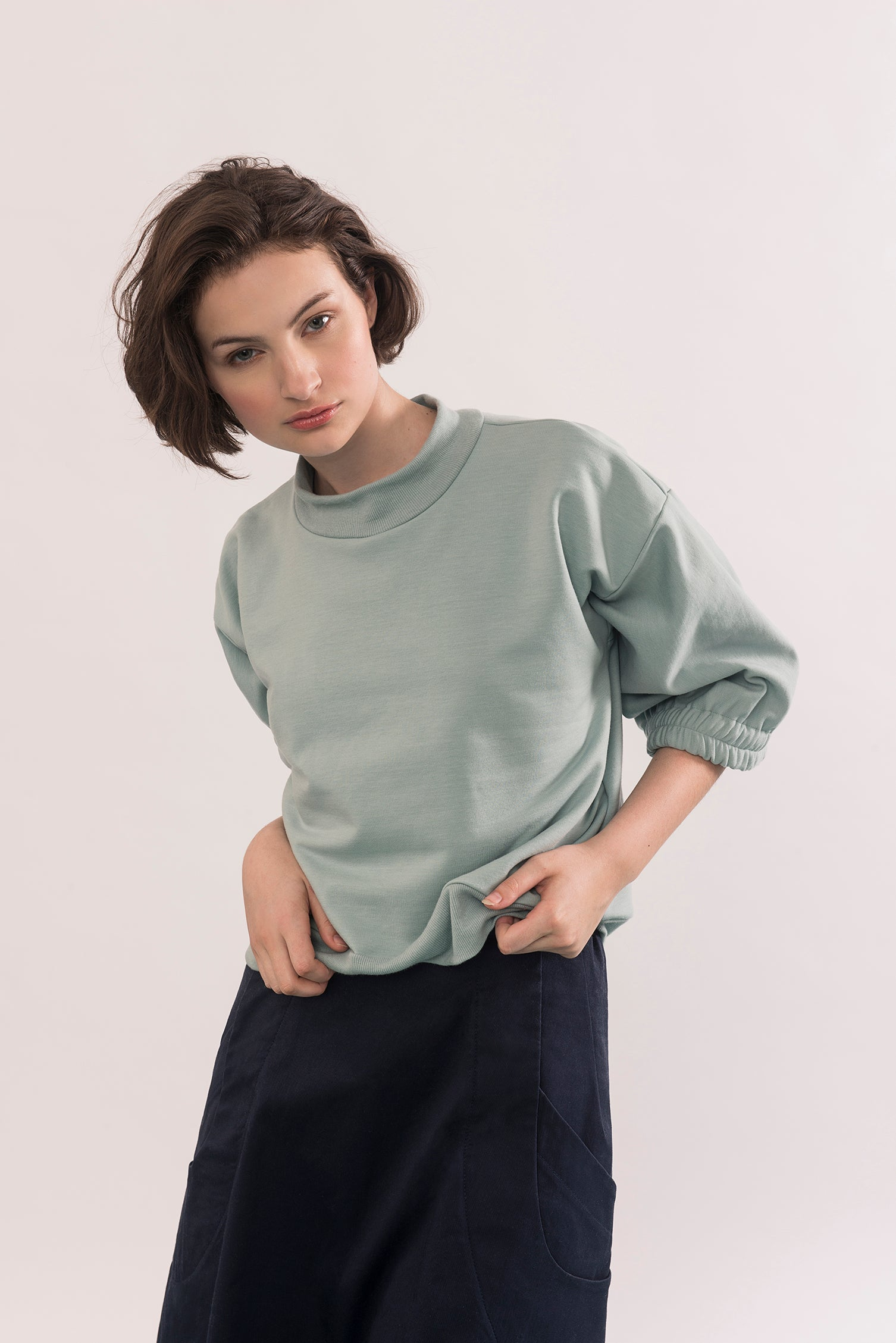 Popova Sweater by Jennifer Glasgow, Seafoam, cropped, 3/4 sleeves, dropped shoulders, ribbed neckline and waist, eco-friendly, OEKO Standard 100 certification, sizes XS to XL, made in Montreal