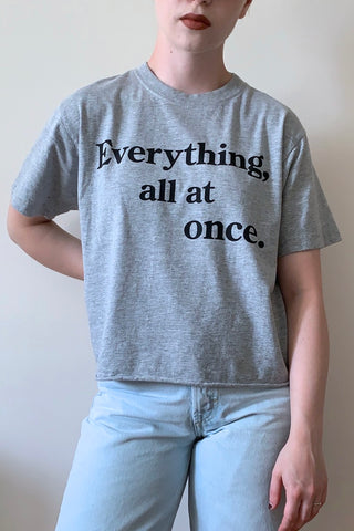 SARA DUKE Everything Tee in Light Grey FW2020/2021 (detail, front view)