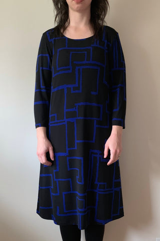COMPLI K Blue Geometric Print Dress 31067 FW2020/2021 (front view)