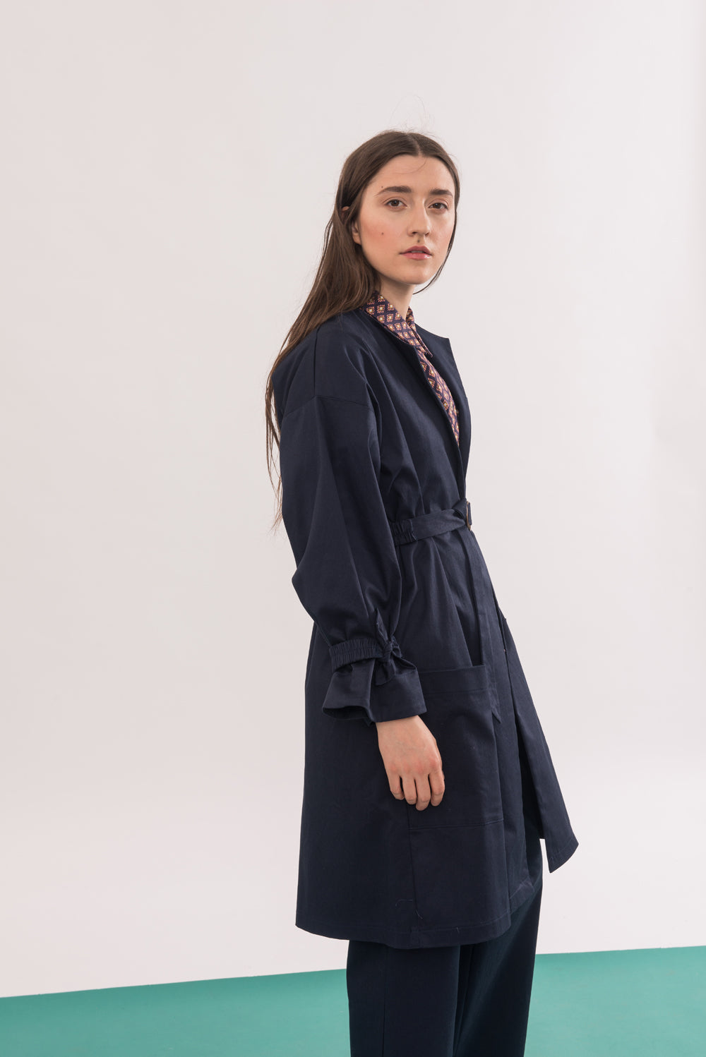 Arbus Jacket by Jennifer Glasgow, Navy, knee-length, broad collar, cinched cuffs, removable belt, eco fabric, OEKO-TEX Standard 100, sizes XS to XL, made in Montreal