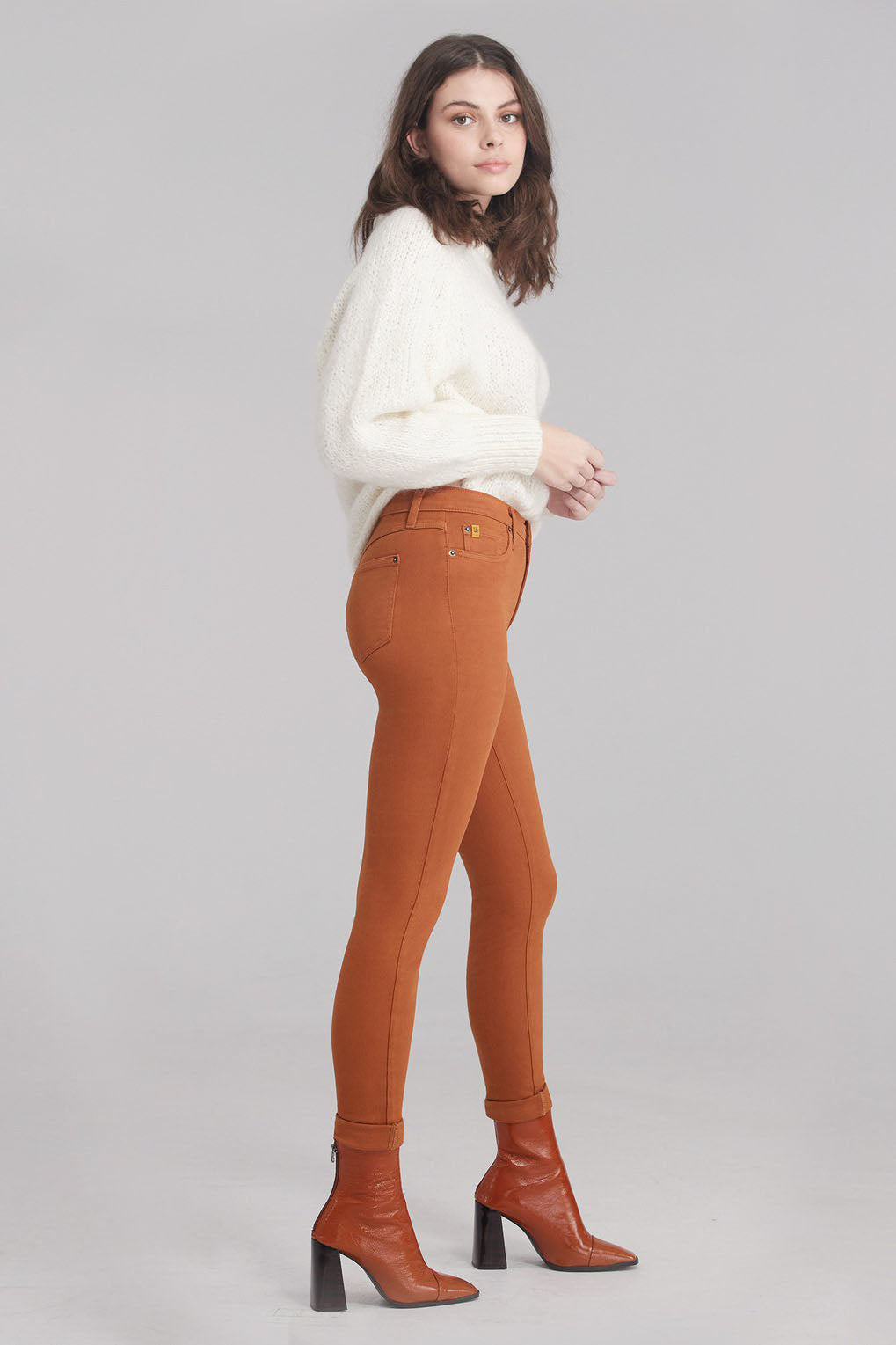 Second Denim Yoga Jeans Classic Rise Skinny, Glazed Ginger, sizes 24-34, made in Canada, style 1711-R30 side View