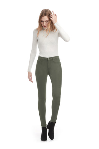 Second Denim Yoga Jeans Classic Rise Skinny in Kiwi available in sizes 24-34 1711CO-R30 front view