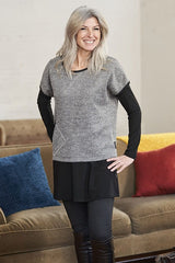 Yukon Top by Rien ne se Perd Tout se Cree, Grey, short sleeves, sweater, diagonal front pocket, sizes XS-XXL, made in Quebec