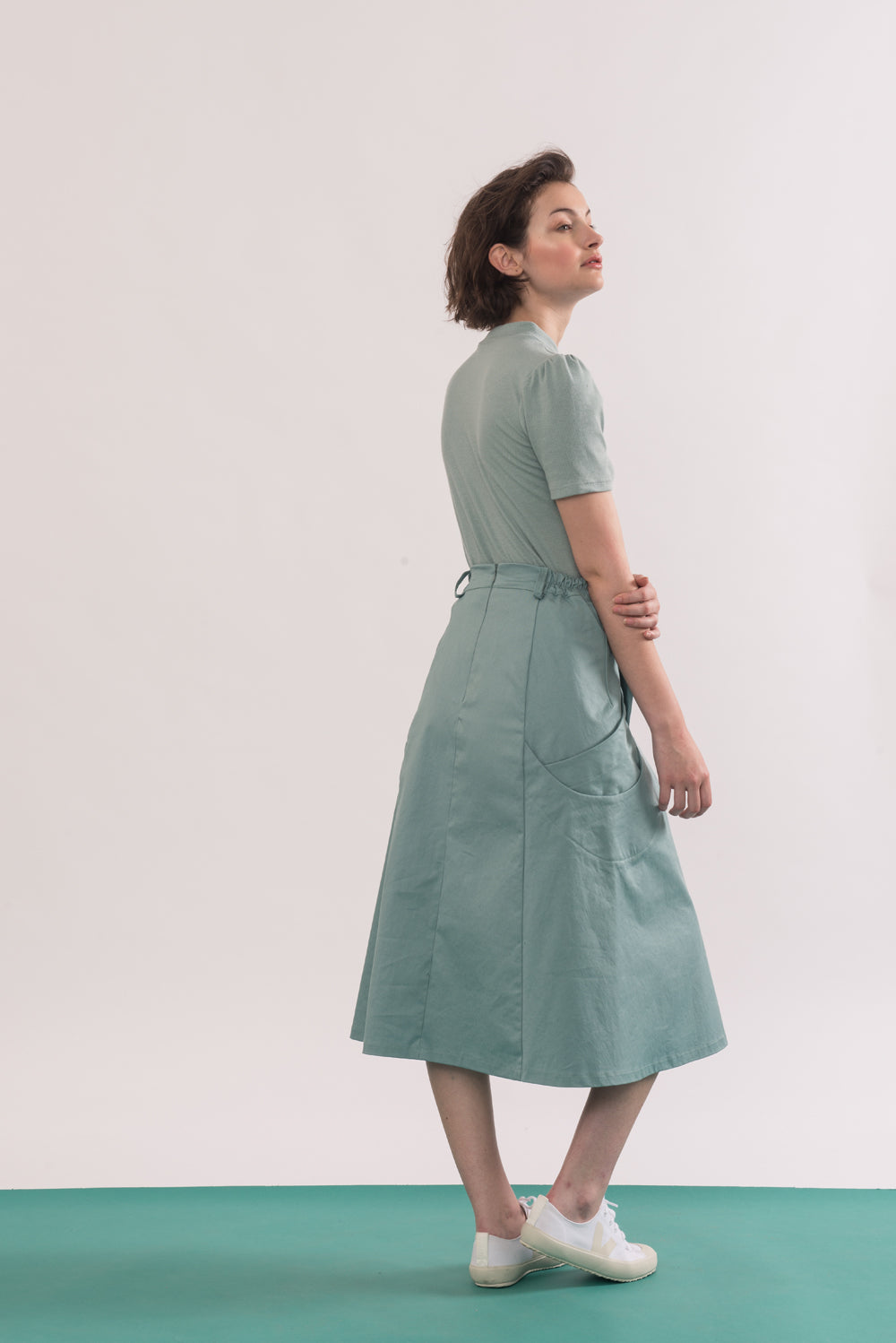 Abramovic Skirt by Jennifer Glasgow, Seafoam, back view, A-line skirt, midi length, origami pockets, organic cotton twill, eco fabric, OEKO-TEX certified Standard 100, sizes XS to XL, made in Montreal Canada