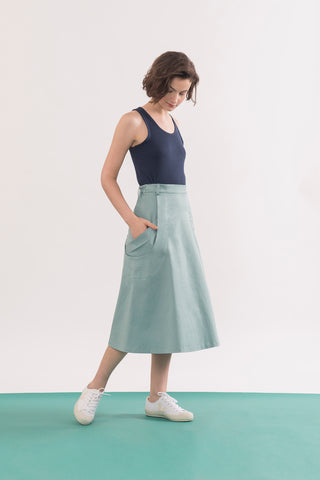 Abramovic Skirt by Jennifer Glasgow, Seafoam, A-line skirt, midi length, origami pockets, organic cotton twill, eco fabric, OEKO-TEX certified Standard 100, sizes XS to XL, made in Montreal Canada