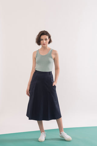 Abramovic Skirt by Jennifer Glasgow, Navy, A-line skirt, midi length, origami pockets, organic cotton twill, eco fabric, OEKO-TEX certified Standard 100, sizes XS to XL, made in Montreal Canada