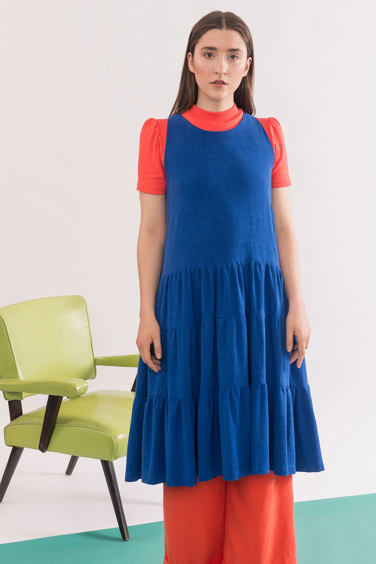 Chagall Dress by Jennifer Glasgow, Electric Blue, sleeveless, three-tiered, pockets, rayon and linen, sizes XS to XL, made in Montreal