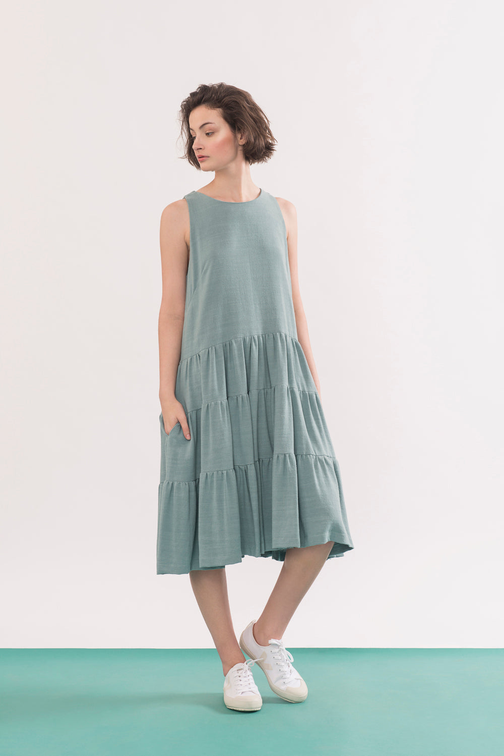 Chagall Dress by Jennifer Glasgow, Seafoam, sleeveless, three-tiered, pockets, rayon and linen, sizes XS to XL, made in Montreal