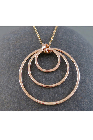 Gold Triple Circle Pendant by Mikel Lefler, handmade in Vancouver BC