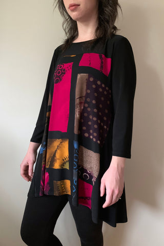 COMPLI K Black and Multicolour 3/4 Sleeve Knit Tunic 31130 FW2020/2021 (side view)