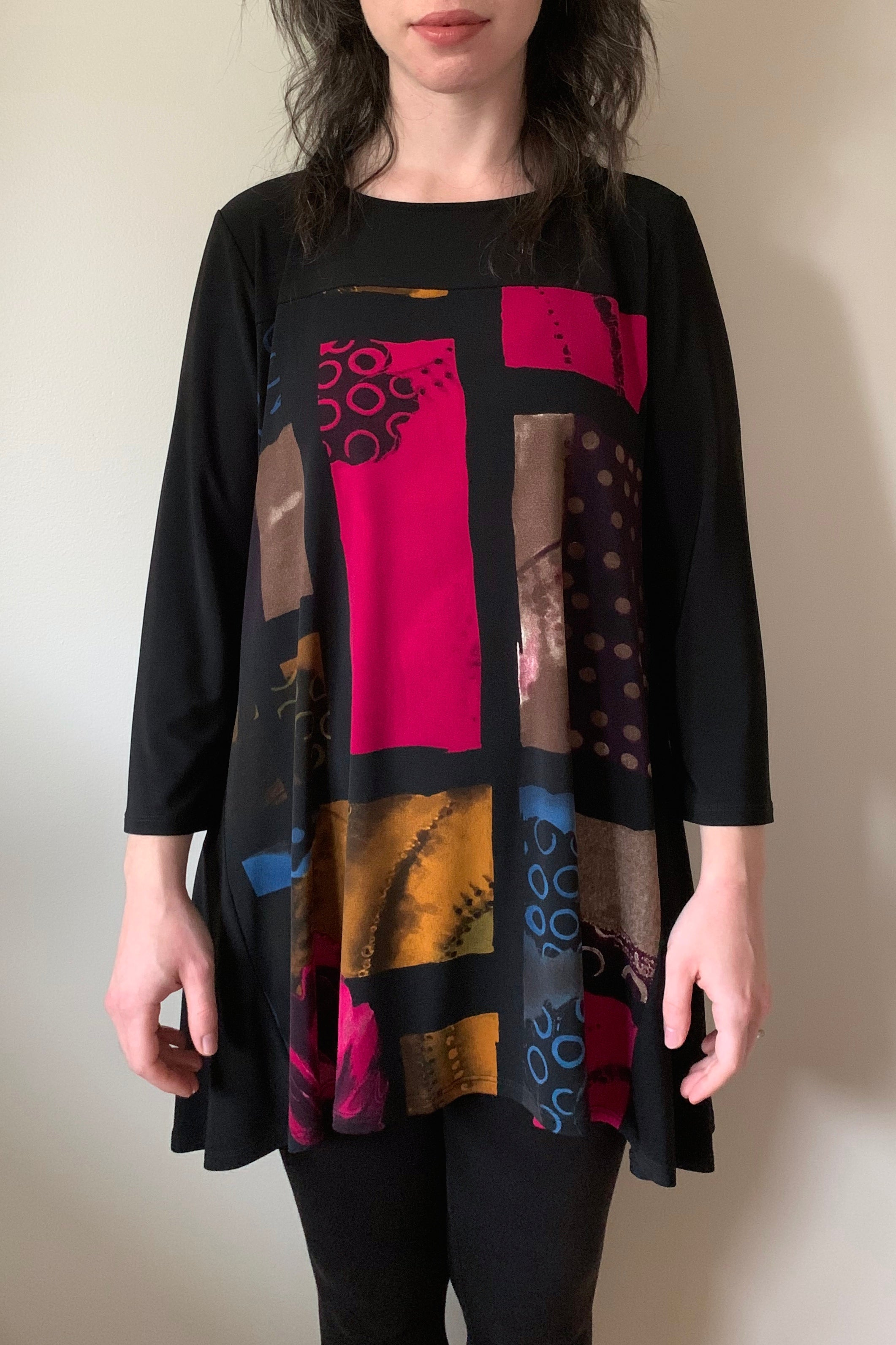 COMPLI K Black and Multicolour 3/4 Sleeve Knit Tunic 31130 FW2020/2021 (front view)