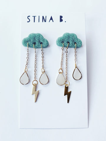 Happy Rain Cloud Dangly Stud Earrings