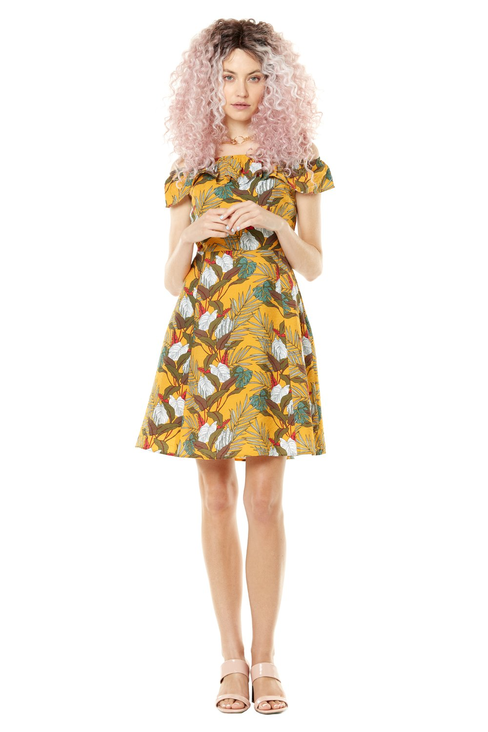 Lollipop Dress by Annie 50, Yellow Leaves, off the shoulder, fit and flare dress, sizes XS to L, made in Quebec