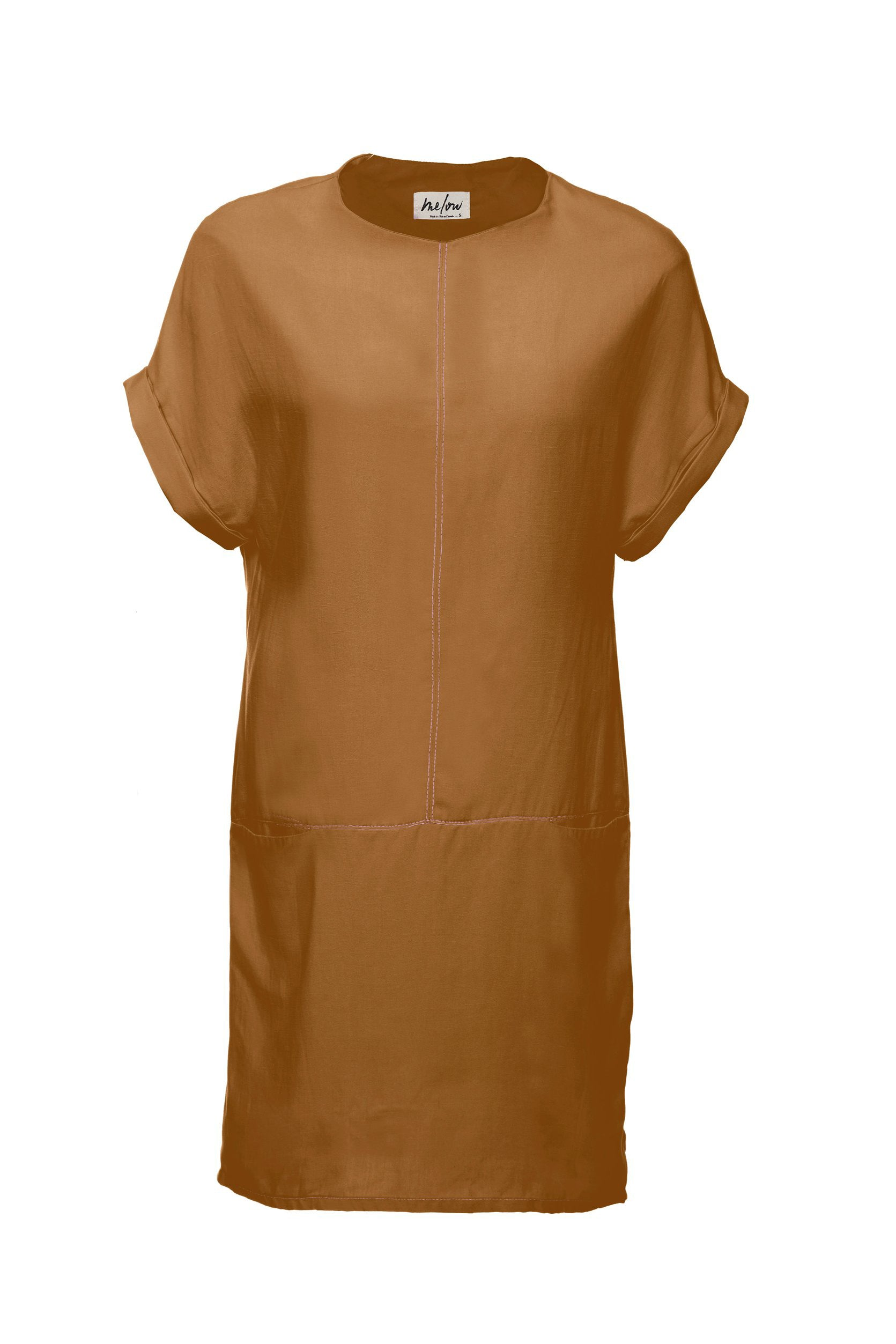 Arwen Dress by Melow par Melissa Bolduc, Copper, straight cut, invisible pockets on horizontal seam, contrast stitching, sizes XS to XXL, made in Montreal