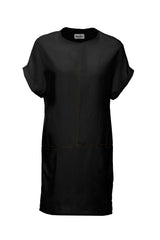 Arwen Dress by Melow par Melissa Bolduc, Black, straight cut, invisible pockets on horizontal seam, contrast stitching, sizes XS to XXL, made in Montreal