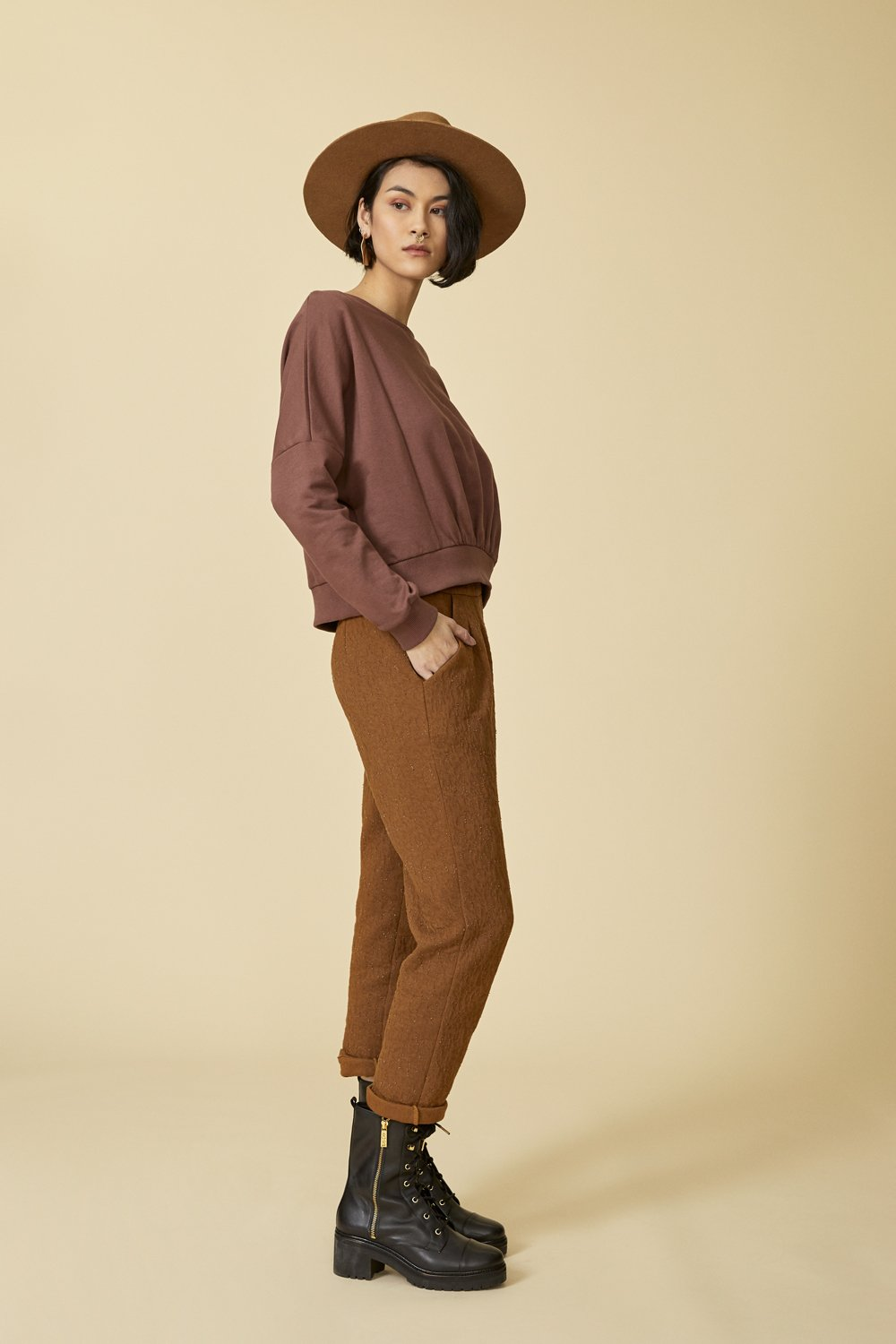 COKLUCH Autel Pants in Cinnamon Crinkle (side view) FW2020/2021