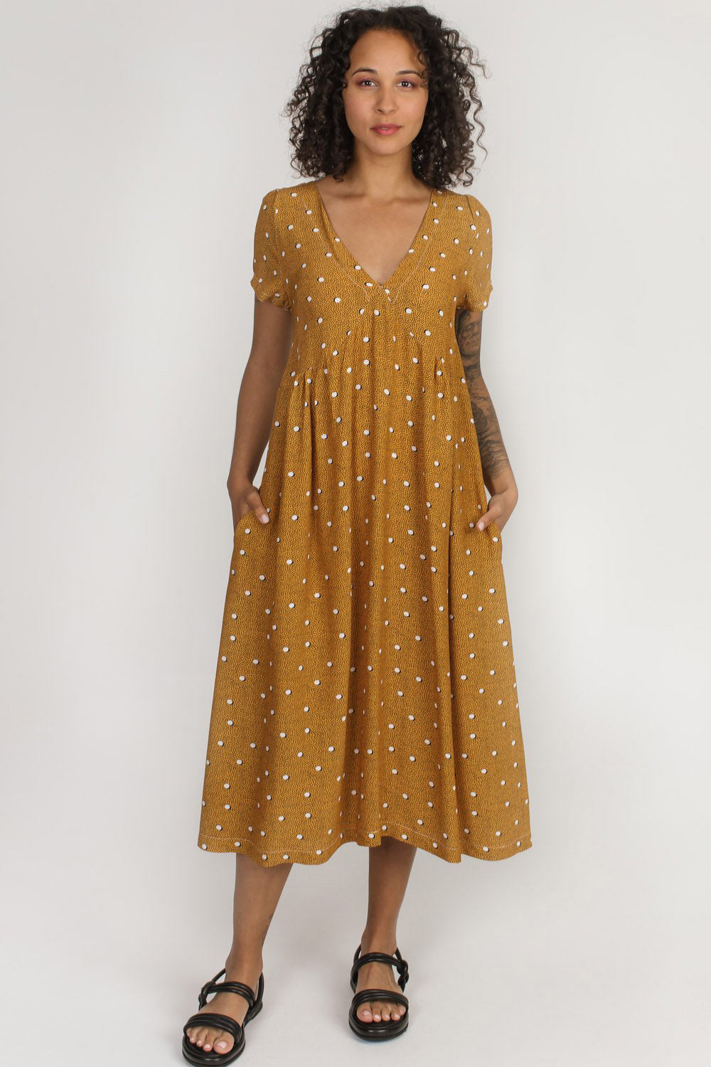 Strathcona Dress Allison Wonderland Yellow Polka Dot  Front