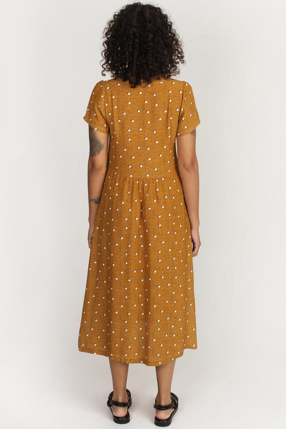 Strathcona Dress Allison Wonderland Yellow Polka Dot  Back