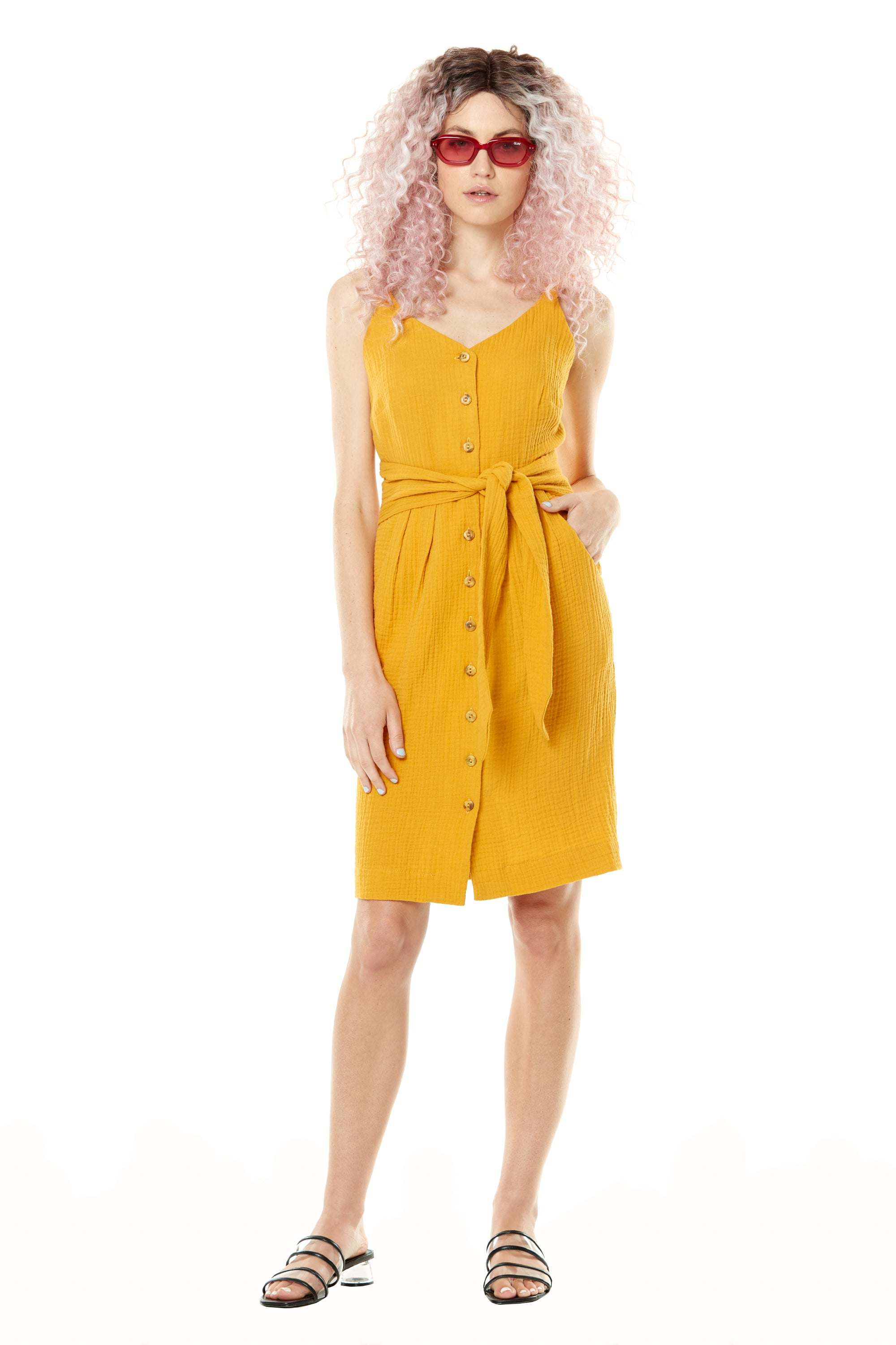 Chamallow Dress by Annie 50, Yellow, adjustable spaghetti straps, V-neck, button front, attached wide belt, cotton crepe, sizes XS to L, made in Quebec