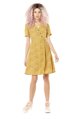 Love Hearts Dress by Annie 50, Yellow Confetti, wrap dress, short sleeves, knot at waist, diagonal buttons on bodice, polyester, sizes XS to L, made in Quebec