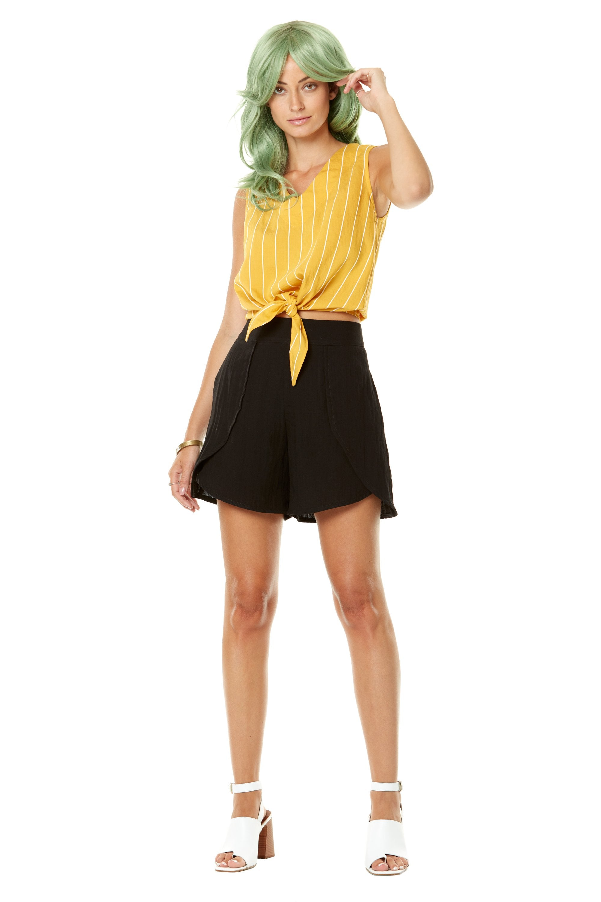 Piruleta Top by Annie 50, yellow, striped, sleeveless, bow at hem, loop button closure at back, sizes XS-L, made in Quebec
