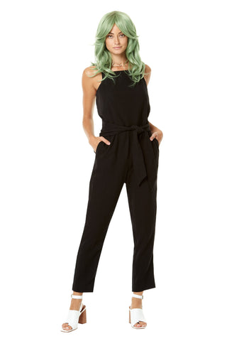 Polly Waffles Jumpsuit by Annie 50, Black, semi-fitted, adjustable spaghetti straps, wide belt, pockets, cotton, sizes XS to L, made in Quebec