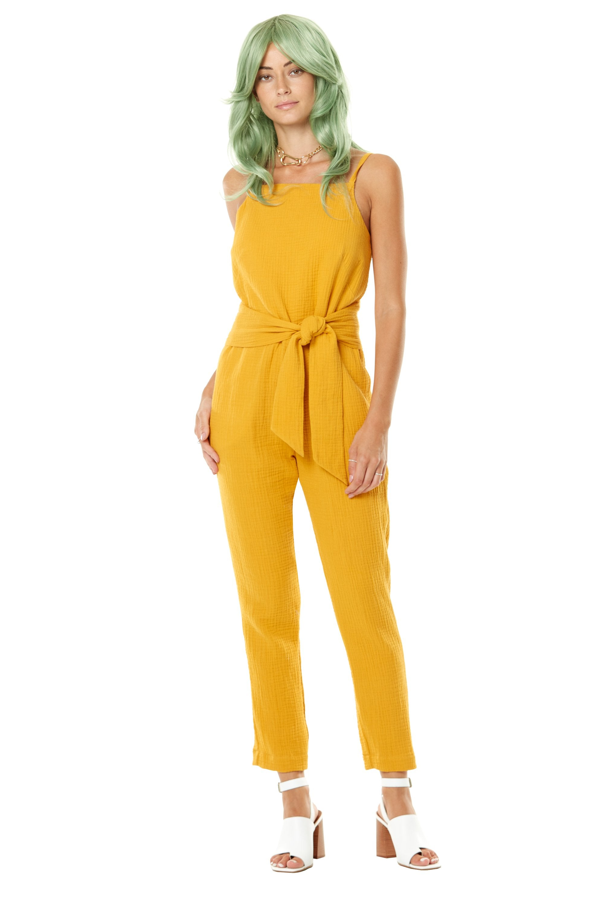 Polly Waffles Jumpsuit by Annie 50, Yellow, semi-fitted, adjustable spaghetti straps, wide belt, pockets, cotton, sizes XS to L, made in Quebec