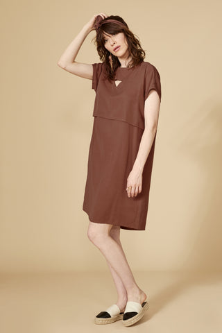 Arrakis Dress by Cokluch, Amaretto, short sleeves, cut out detail, high-low hemline, viscose linen, sizes XS to L, made in Montreal
