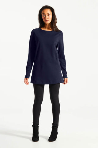 BOU Fig Tunic Night Blue Front View FW 20/21. Made in Canada Available sizes XS-XL