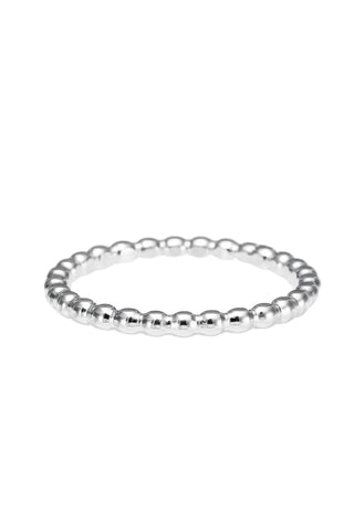 Silver Beaded Stacking Ring • Sterling Silver