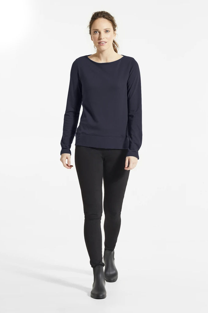 Navy Bey Sweater, Front view, boat neckline, styled with black pants and boots, FIG Fall/Winter 2020/2021, Sizes XS - XL