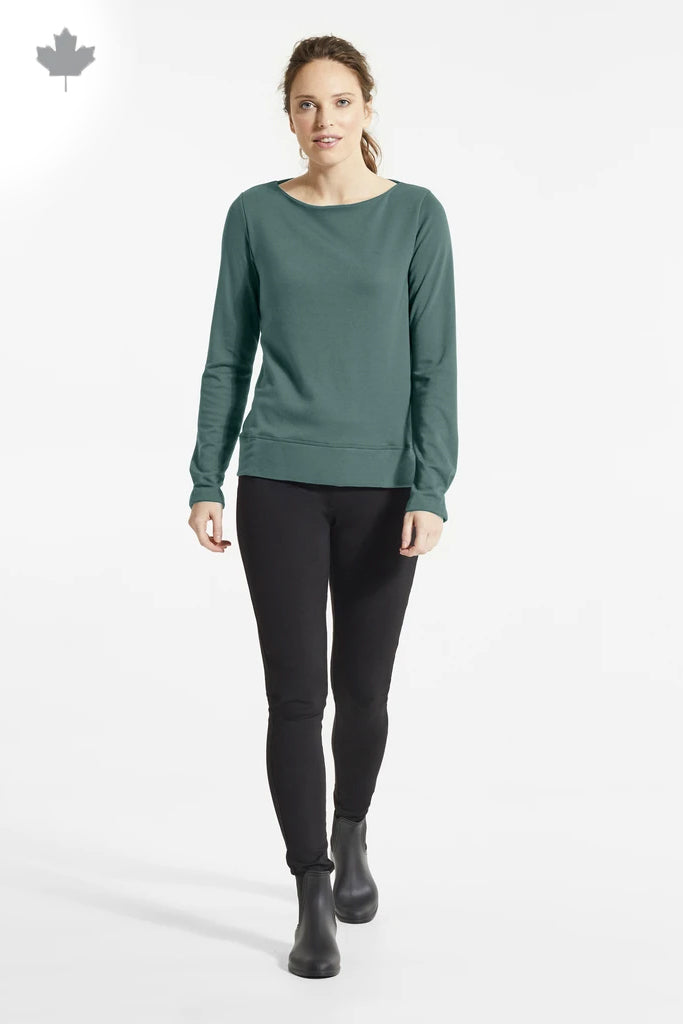 Jade Bey Sweater, Front view, styled with black pants and boots, boat neckline, FIG Fall/Winter 2020/2021, Sizes XS - XL