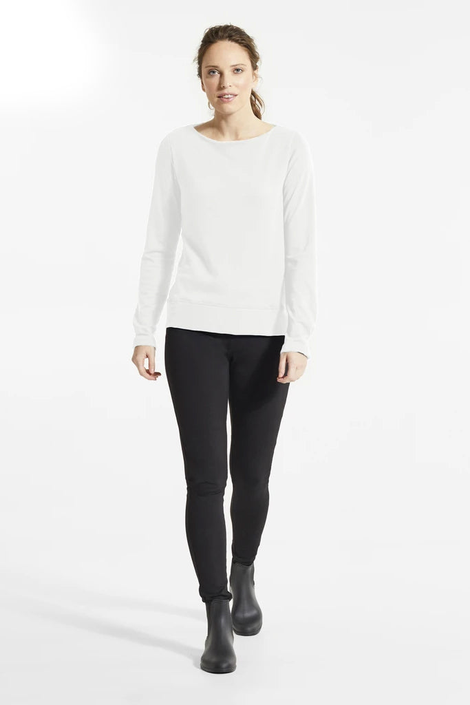 Natural Bey Sweater, Front view, boat neckline, styled with black pants and boots, FIG Fall/Winter 2020/2021, Sizes XS - XL
