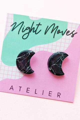 "Crescent Moon Studs in ""Black Howlite"""