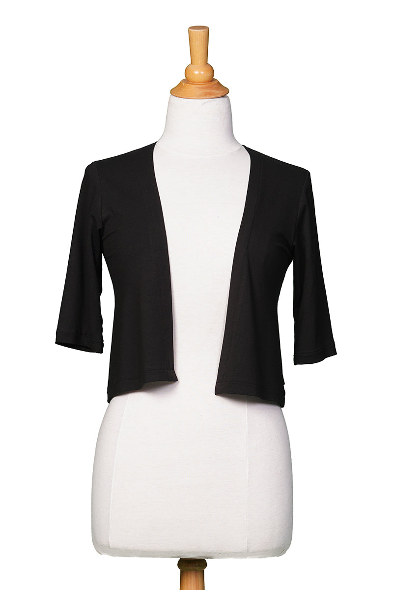 Salvador Bolero by Rien ne se Perd Tout se Cree, Black, elbow-length sleeves, rayon, sizes XS to XXL, made in Quebec