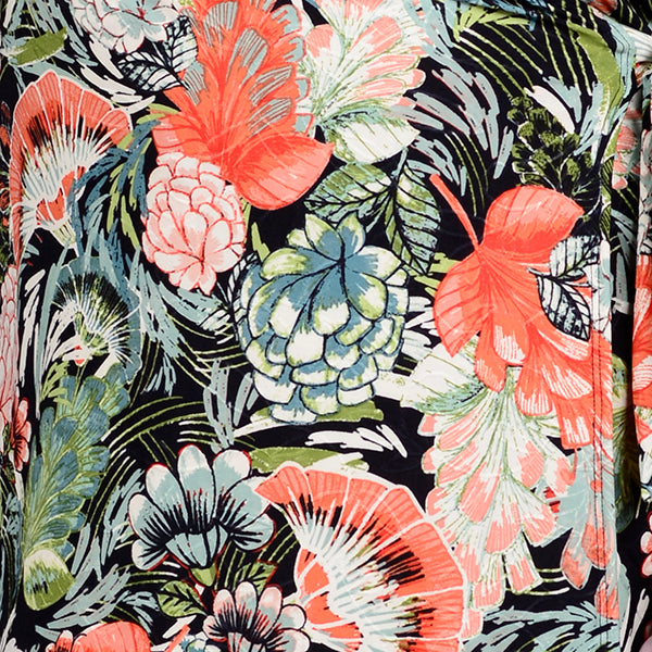 Crossover Dress by Zaan, Calipso print, plant print, black, coral, green, fabric swatch