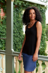 Energie Cami by Rien ne se Perd, reversible back to front, Black, rayon blend, sizes XS to XXL, made in Quebec