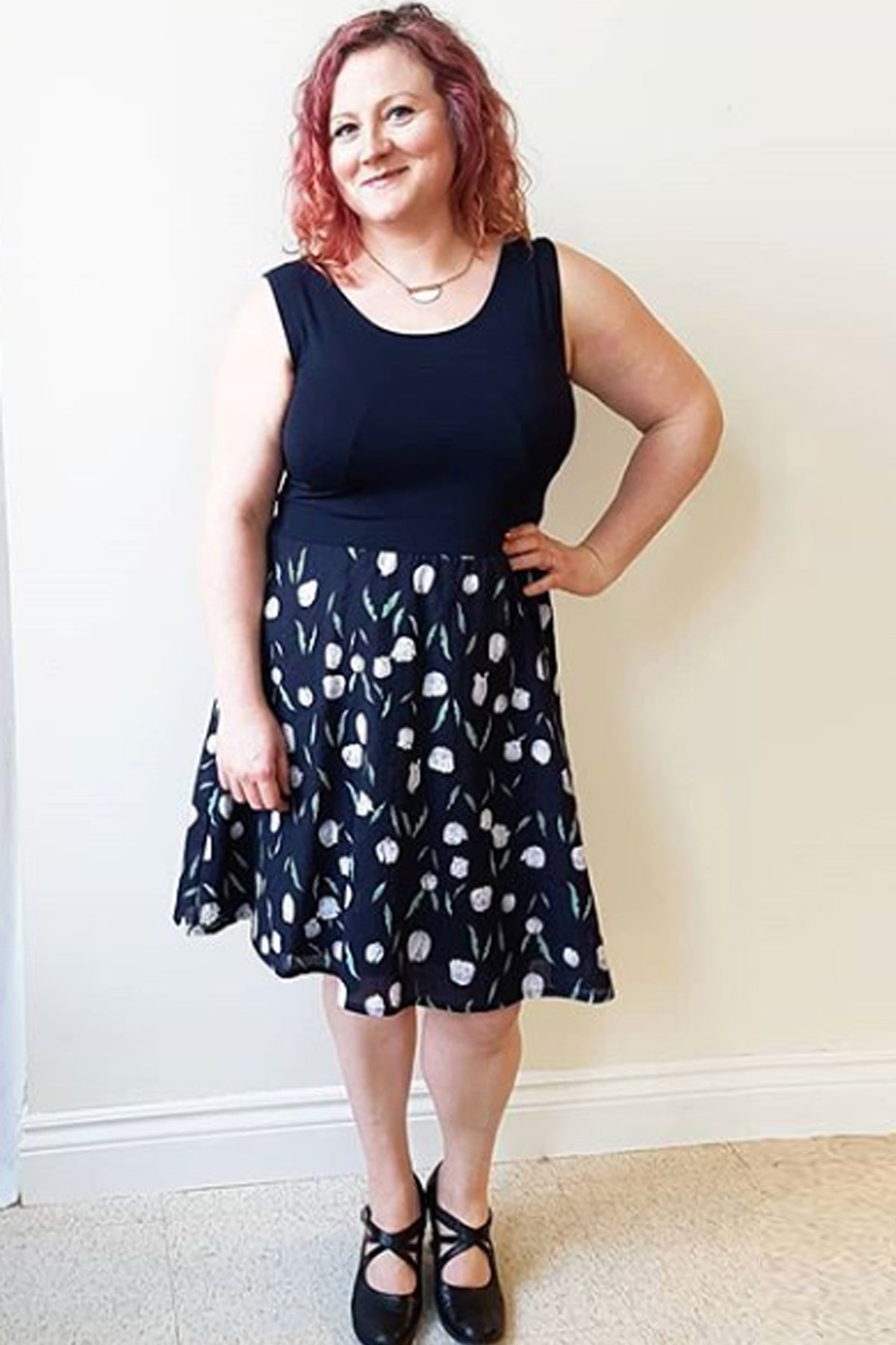 Fern Dress by Cherry Bobin, Navy Tulips, sleeveless, fitted bodice, full skirt, bamboo jersey, sizes XS to XXL, made in Quebec