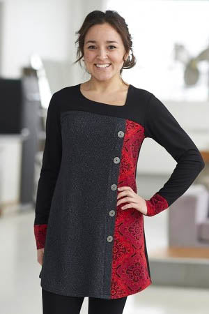 RIEN NE SE PERD Copernic Tunic in Red and Black Mandala FW2020/2021 (front view, styled)