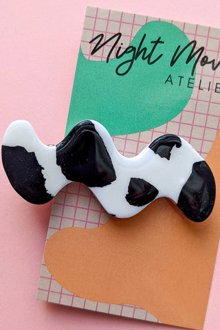Cow Print Squiggle Babe Hair Barrette Duo (2 Clips)