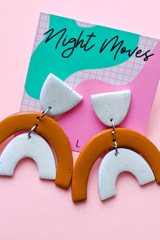Dome Green & White Abstract Night Moves Earrings