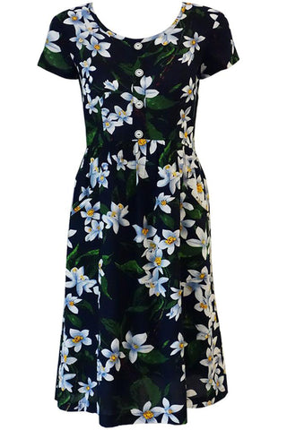 Gretchen Gathered  Dress - Hawaii Print