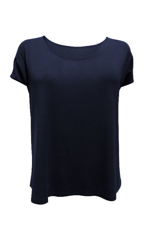 Emmy Top by Moovment, Navy, loose fit, cap sleeves, slits at side hems, bamboo-viscose, sizes XS to XXL, made in Quebec