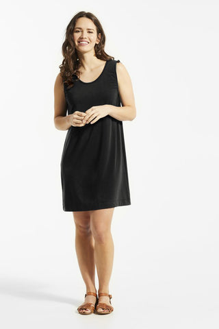 AYA Dress by FIG, Black, round neck, straight fit, sleeveless, drawstrings at shoulders, Drirelease fabric, sizes XS to XL, made in Canada