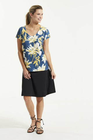 DEB Top by FIG, Bowerbird Carnation, boxy T-shirt, scoop neck, Drirelease fabric, sizes XS to XL, made in Canada
