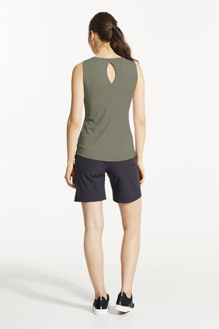 EKO Tank Top by FIG, Acacia, back view, V-neck, cutout detail at back, hi-low hemline, Drirelease fabric, sizes XS to XL, made in Canada