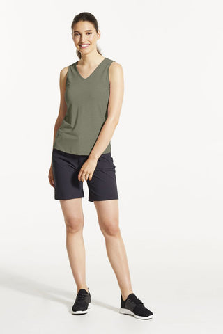 EKO Tank Top by FIG, Acacia, V-neck, cutout detail at back, hi-low hemline, Drirelease fabric, sizes XS to XL, made in Canada