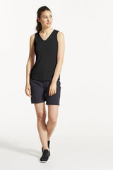 EKO Tank Top by FIG, Black, V-neck, cutout detail at back, hi-low hemline, Drirelease fabric, sizes XS to XL, made in Canada