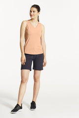 EKO Tank Top by FIG, Peachy, V-neck, cutout detail at back, hi-low hemline, Drirelease fabric, sizes XS to XL, made in Canada